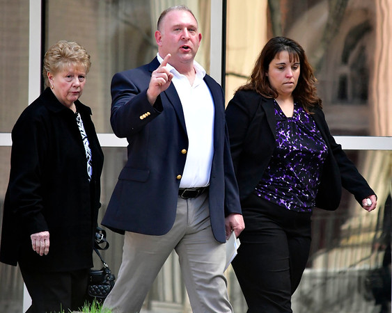 4/23/2019 Mike Orazzi | Staff Jodi Zils Gagne and her husband Steve after she was sentenced in Federal Court in Hartford to 46 months on Tuesday.
