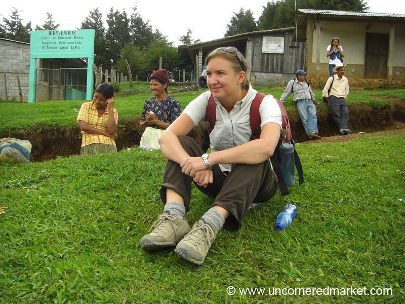 Audrey Waiting for Chicken Bus Repairs - Marcala, Honduras