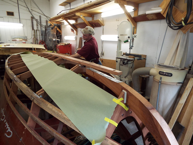 Front view of the new keel being epoxied in place.