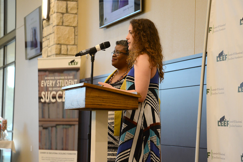 "Leander High School senior Lidia Kivil, recognizing Kasandra Diomande: ""Mrs. Diomande is always there for myself and her other students. She is willing to stay after school with me to help me out after class; she is willing to listen to my personal problems, or about my life, while also telling me a little bit about herself; and she is very gracious about helping me to do makeup work. Mrs. Diomande is very patient, and it means a lot that she tries to understand my personal life and how it affects my school work or my ability to do school work."""