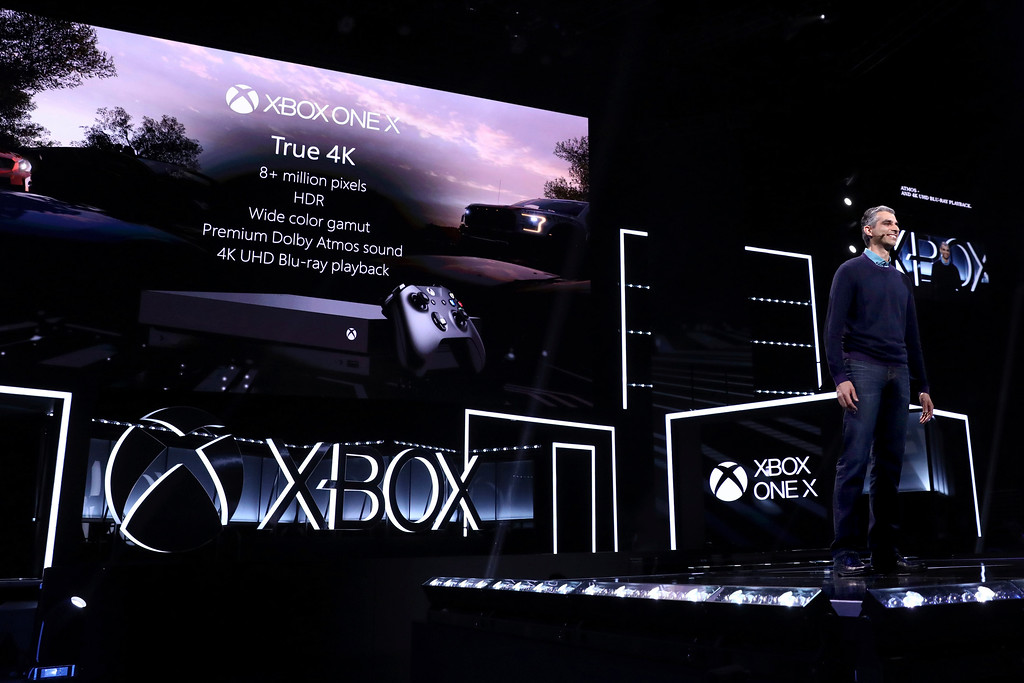 . IMAGE DISTRIBUTED FOR MICROSOFT - Kareem Choudhry, CVP, Xbox Software Engineering, details the Xbox One X at the Xbox E3 2017 Briefing on Sunday, June 11, 2017 in Los Angeles. (Photo by Matt Sayles/Invision for Microsoft/AP Images)