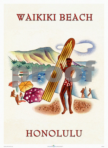 376: Frank Macintosh - 'Honolulu' Illustration for cruise ship brochure, ca. 1938. (PROOF watermark will not appear on your print)