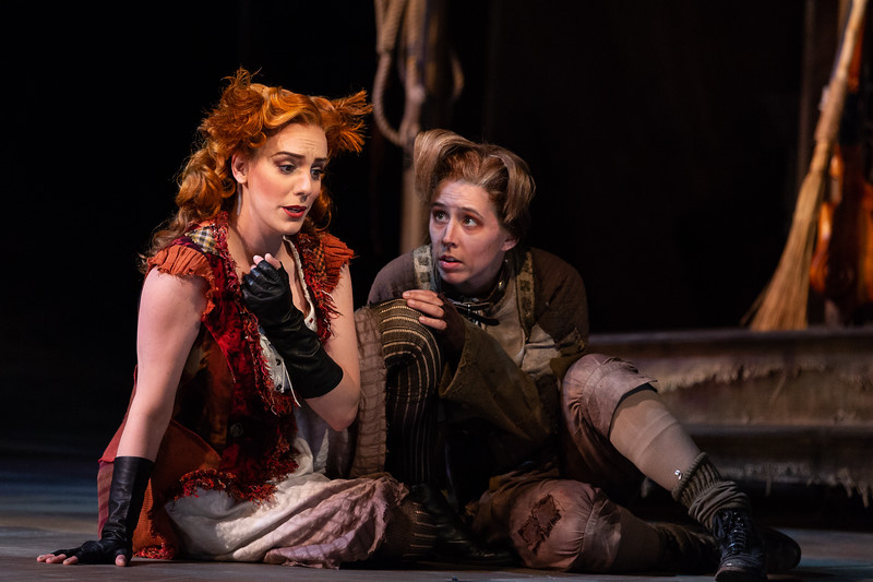 """Joanna Latini as the Vixen and Katherine Maysek as Lapak, the Dog, in The Glimmerglass Festival's 2018 production of Janáček's """"The Cunning Little Vixen."""" Photo: Karli Cadel/The Glimmerglass Festival"""