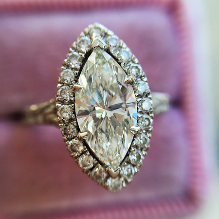 1.21ct Marquise Shape Diamond Halo Ring, GIA G SI1