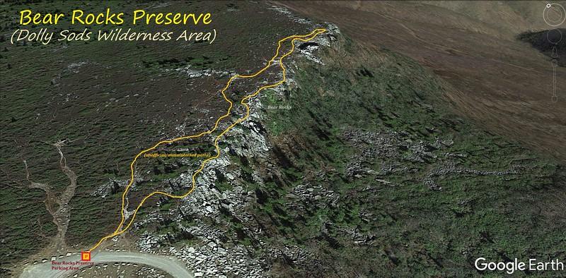 Bear Rock Preserve Hike Route Map