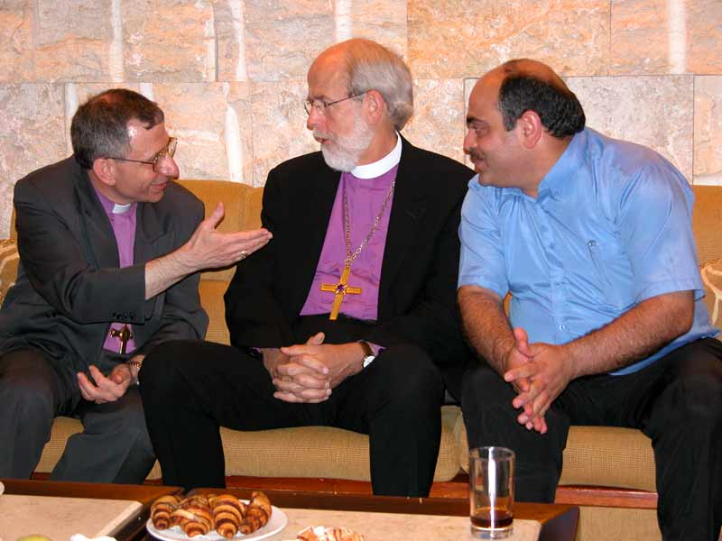 Left to right:  Bishop Munib Younan, Evangelical Lutheran Church in Jordan; Presiding Bishop Mark S. Hanson, ELCA; and Cesare Marjieh, Director, Department for Christian Communities, Ministry of Religious Affairs, Israel
