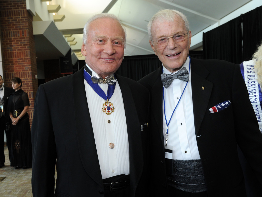""". Astronauts Buzz Aldrin and Scott Carpenter are seen at the 12th Annual Starkey Hearing Foundation \""""So The World May Hear\"""" Gala on Saturday, August 4, 2012 in St. Paul, Minnesota. (Photo by Diane Bondareff/Invision for Starkey Hearing Foundation)"""