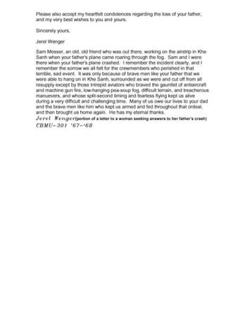 Letter to a Pilot's Daughter-Jerel Wenger CBMU-301 Khe Sanh