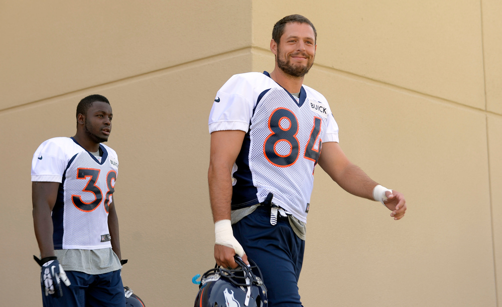 . Denver Broncos TE Jacob Tamme (84) smiles at the cameras during training camp July 26, 2013 at Dove Valley. (Photo By John Leyba/The Denver Post)