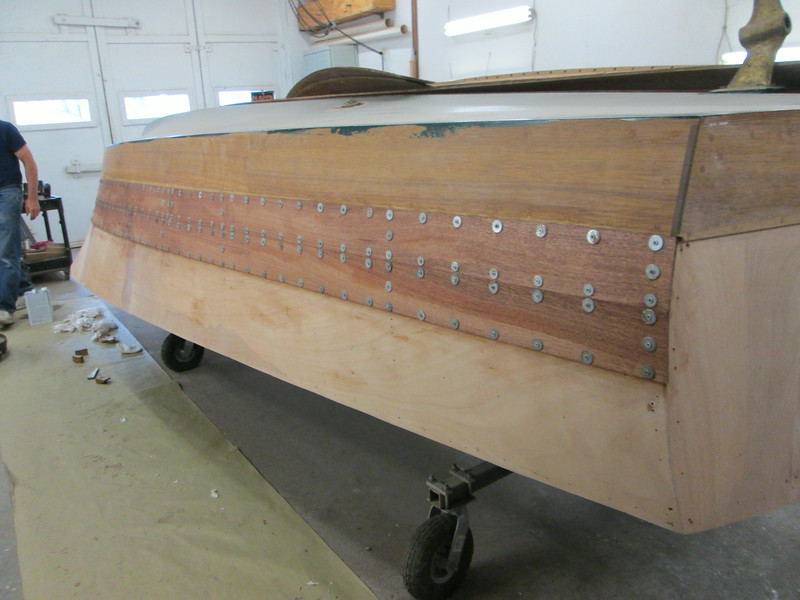 Rear view of new starboard planks in place.