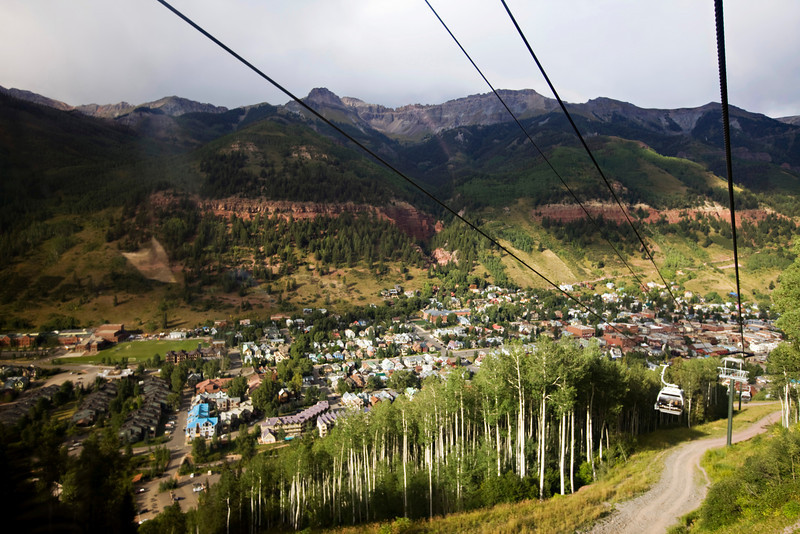 View of the town of Telluride from the Gondola.