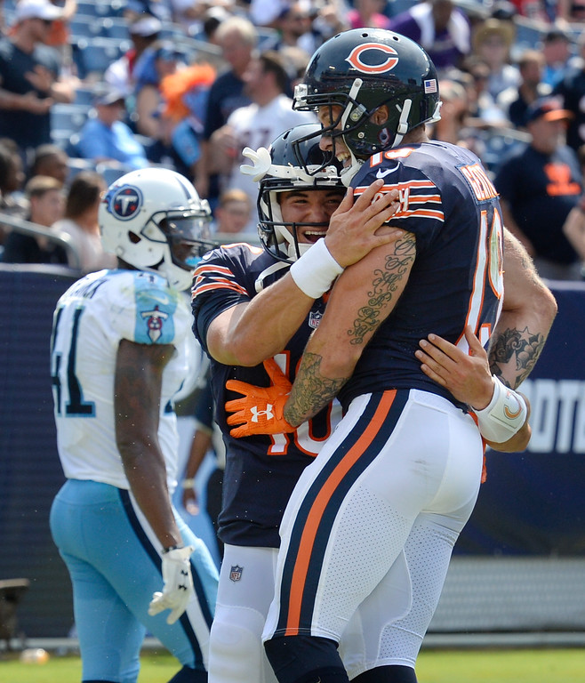 . Chicago Bears wide receiver Tanner Gentry (19) celebrates with quarterback Mitchell Trubisky (10) after they teamed up on a 45-yard touchdown pass play against the Tennessee Titans in the second half of an NFL football preseason game Sunday, Aug. 27, 2017, in Nashville, Tenn. (AP Photo/Mark Zaleski)
