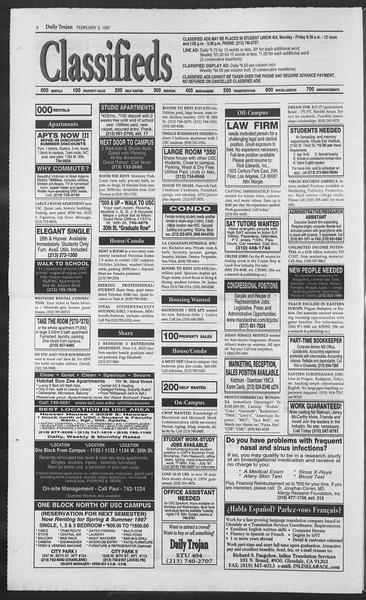Daily Trojan, Vol. 130, No. 16, February 03, 1997