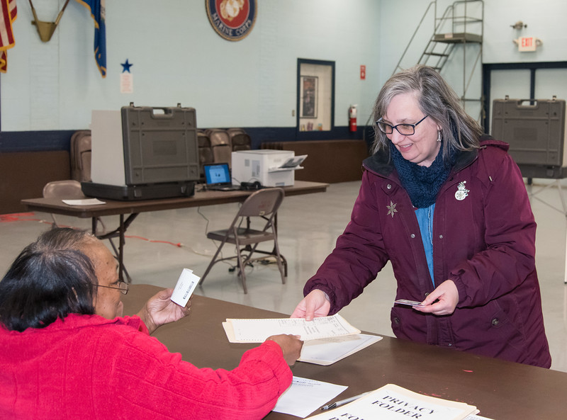 02/26/19  Wesley Bunnell | Staff  Approximately 120 voters as of 2:00pm at the VFW Post 511 Memorial Hall voting location for the 6th state Senate District seat. Cathy Teti receives her voting packet.
