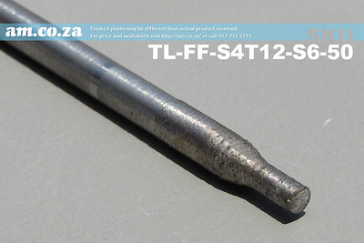 TL-FF-S4T12-S6-50 , 4mm Flat End Mill Granite Stone Router Bit with 12mm Fine Grit on 6mm Shank, Full Length ⩾50mm