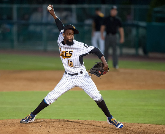 08/22/18 Wesley Bunnell | Staff The New Britain Bees vs the Road Warriors at New Britain Stadium on Wednesday night. Sam Gervacio (12).
