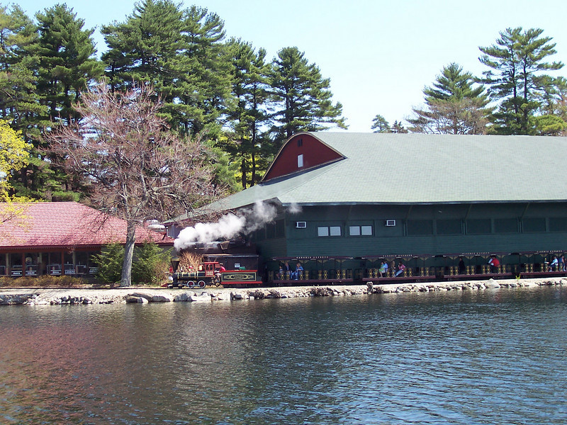 Canobie Express train, Portofino's, and Dance Hall Theater, from the Blue Heron Lake Cruise.