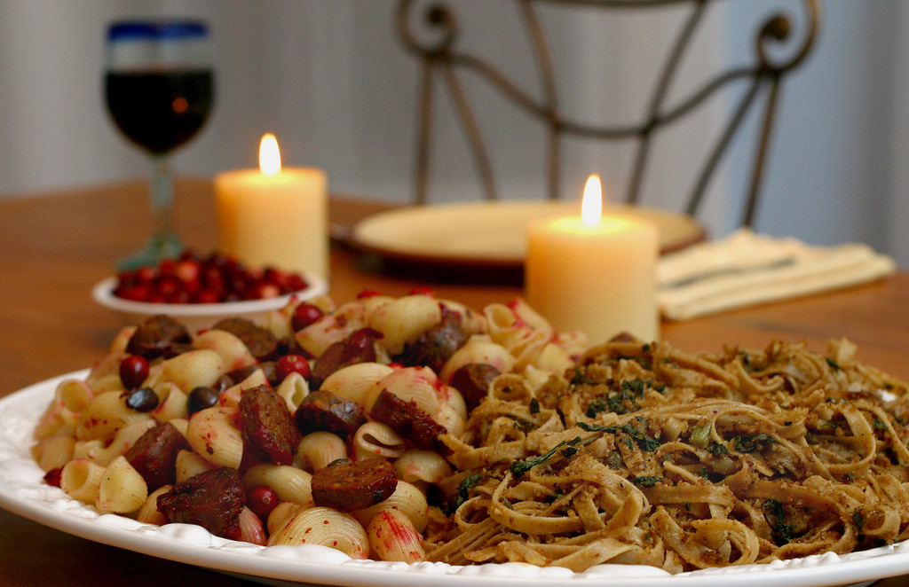 . This Nov. 1, 2003, file photo, shows ziti with cranberries and Italian soy sausage, left, and Good Friday pasta, in Concord, N.H. In homes across the country on Thanksgiving Day, tables will be set to accommodate everyone from vegans and vegetarians to those trying to eat like a caveman. Increasingly complicated Thanksgiving feasts reflect the growing ranks of Americans who are paying closer attention to the food they put in their bodies. (AP Photo/Larry Crowe, File)