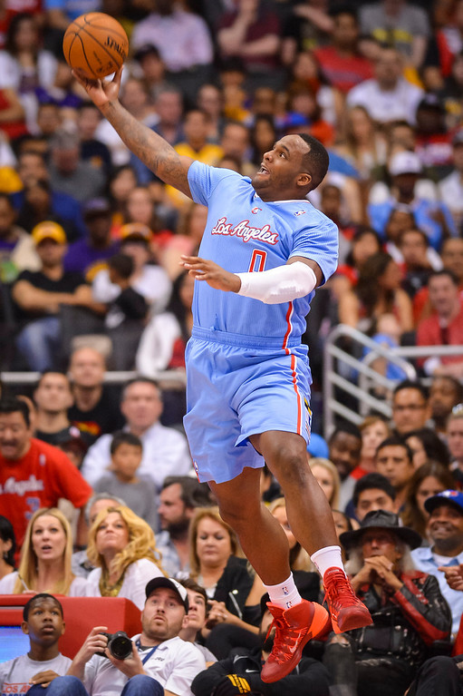 . Clippers Glen Davis saves a ball from going out of bounds during game action at Staples Center Sunday April 6, 2014. Clippers defeated the Lakers 120-97.  ( Photo by David Crane/Los Angeles Daily News )