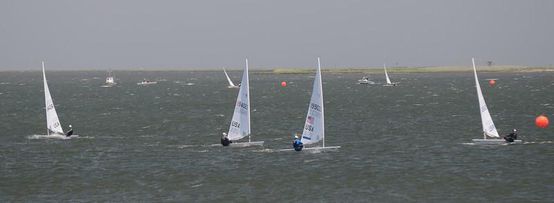 6/2 Clay Johnson leading the fleet at the windward mark of race 11.