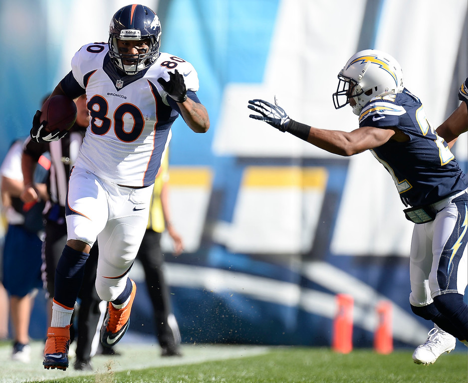 . Denver Broncos tight end Julius Thomas (80) gets past San Diego Chargers cornerback Derek Cox (22) to free him up for a 74 yard touch down run down the sidelines during the first quarter at Qualcomm Stadium. (Photo by John Leyba/The Denver Post)