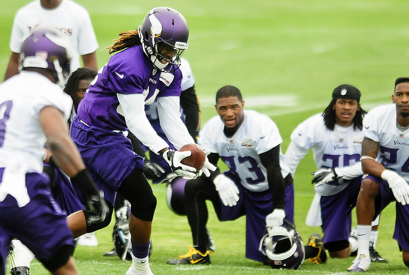 . Minnesota Vikings wide receiver Cordarrelle Patterson catches a pass at Vikings training camp in Mankato, Minn., on Friday, July 26, 2013. (Pioneer Press: Ben Garvin)