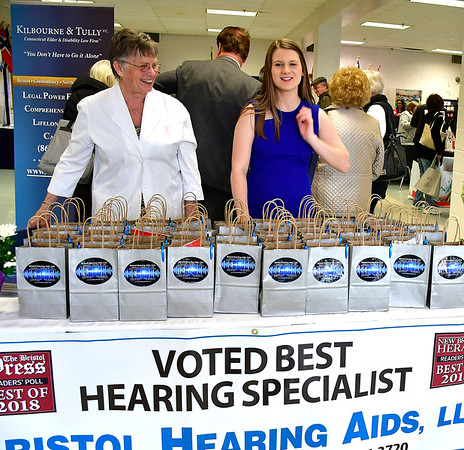 4/6/2019 Mike Orazzi | Staff Bristol Hearing Aids' Joanne Cyr-Callaghan and Miranda LaPira during the 5th Annual Connecticut Prime Time Senior Fair Saturday at Bristol Eastern High School.