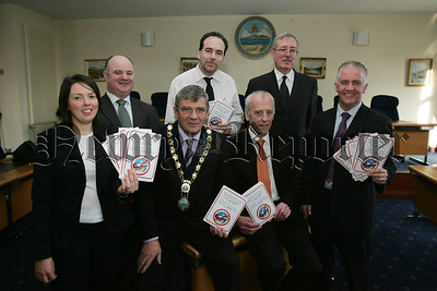 Pictured with Mayor Michael Carr are council employees at the launch of their Smoke Free policy which has began on the 1st February. 07W8N5