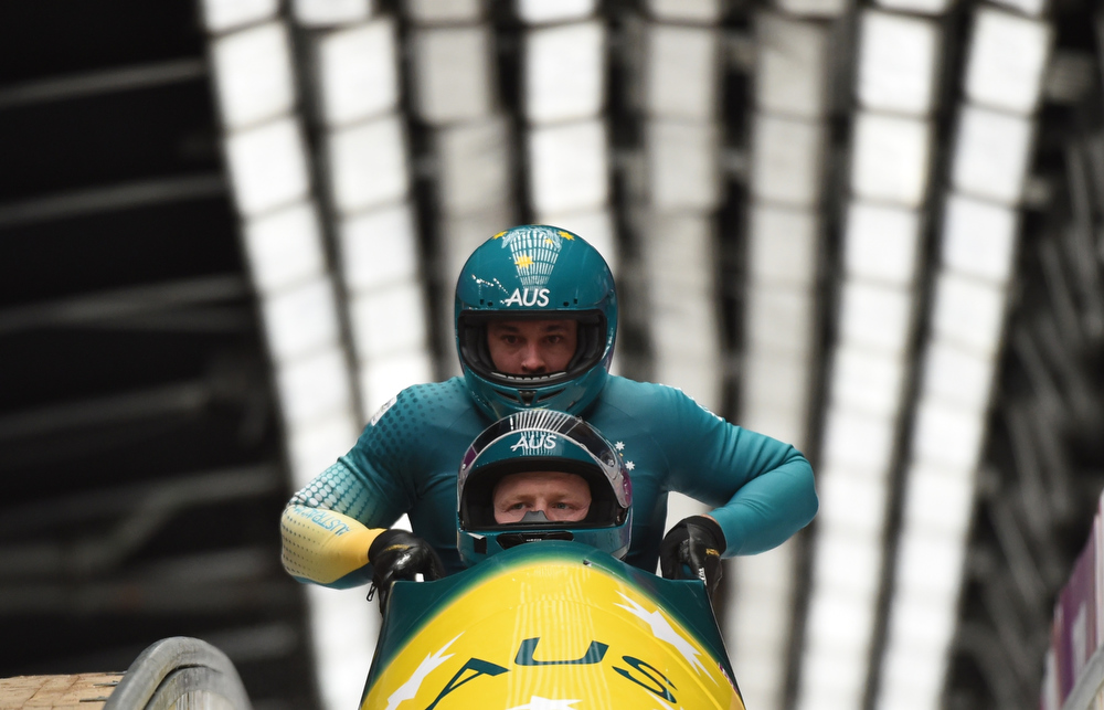 . Australia-1 two-man bobsleigh pilot Heath Spence and brakeman Duncan Harvey compete in the Bobsleigh Two-man Heat 3 at the Sliding Center Sanki during the Sochi Winter Olympics on February 17, 2014.      LEON NEAL/AFP/Getty Images