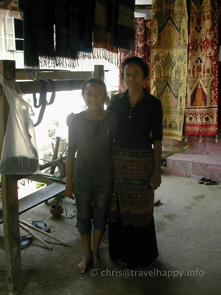 Mother and daughter at the craft village near Luang Prabang, Laos