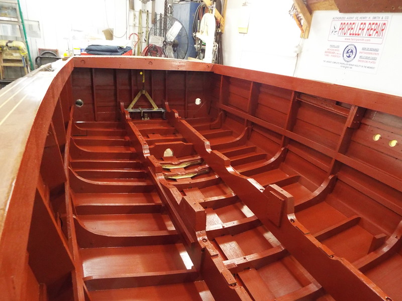 View looking toward the transom of the inside paint work completed.