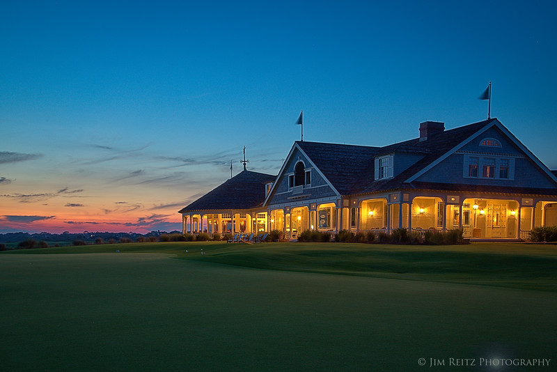 The Ocean Course clubhouse, just after sunset - Kiawah Island, South Carolina
