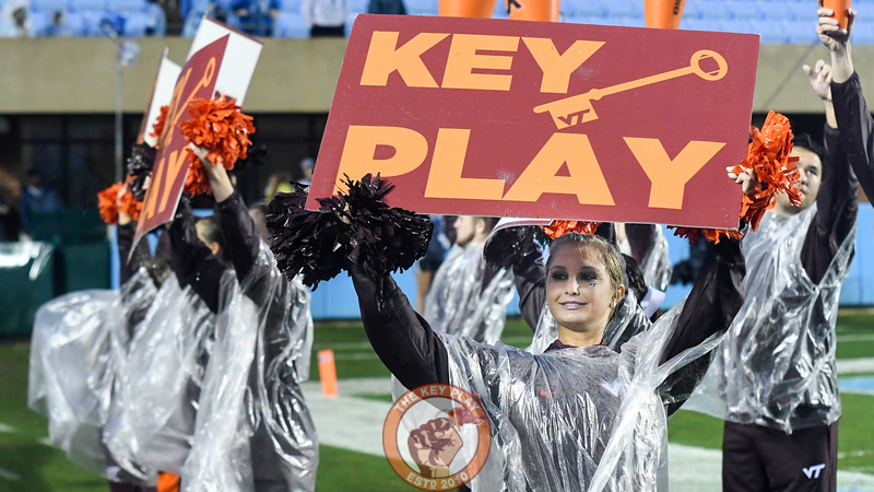 Virginia Tech Hokies cheerleaders give some free advertising for this website during a third down late in the game. (Michael Shroyer/ TheKeyPlay.com)