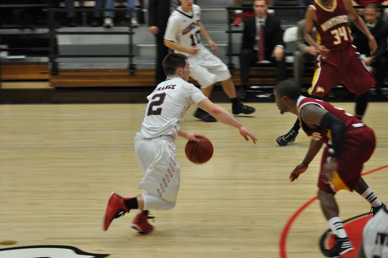 Tyler Strange drives down to teh basket against Winthrop University Tuesday February 19, 2013.