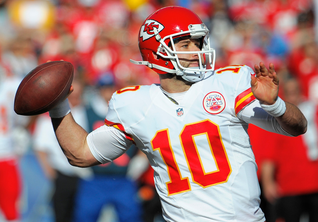 . Kansas City Chiefs quarterback Chase Daniel throws a pass while playing the San Diego Chargers during the first half in an NFL football game, Sunday, Dec. 29, 2013, in San Diego. (AP Photo/Denis Poroy)