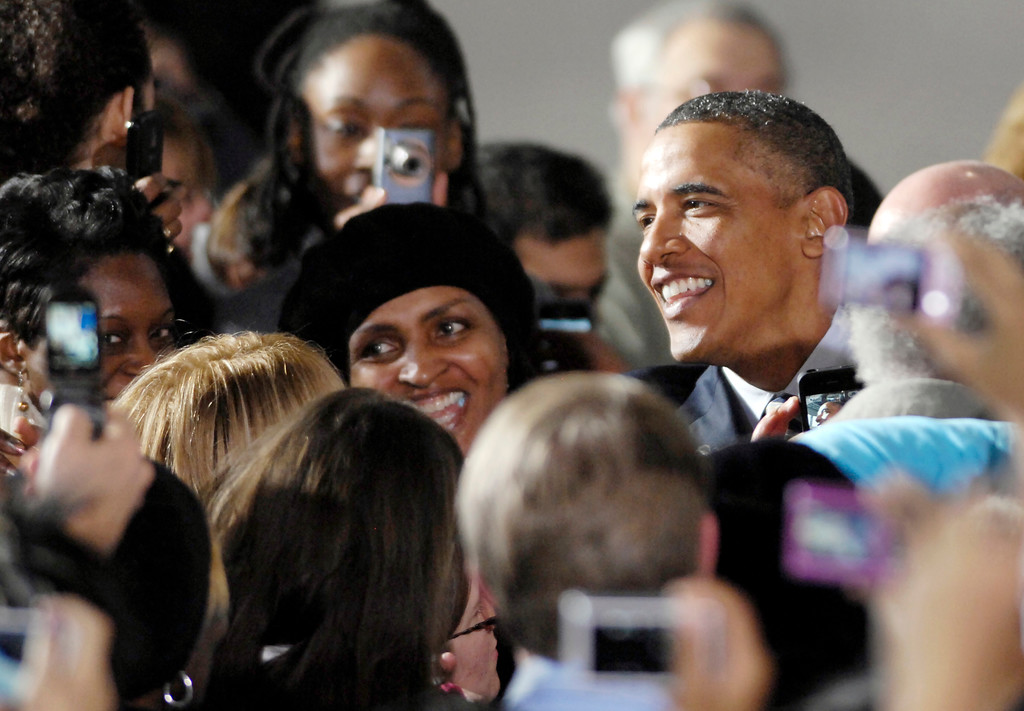 . President Barack Obama wades into the crowd at Shaker Heights High School after he announced he was installing former Ohio Attorney General Richard Cordray as director of the Consumer Finance Protection Bureau in January 2012. (News-Herald file)