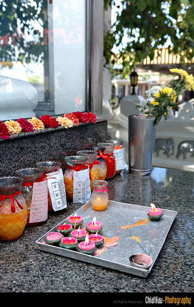 Here you will spotted lotus candles offered to the buddha for the well being of the family.
