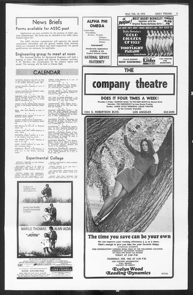Daily Trojan, Vol. 61, No. 76, February 18, 1970