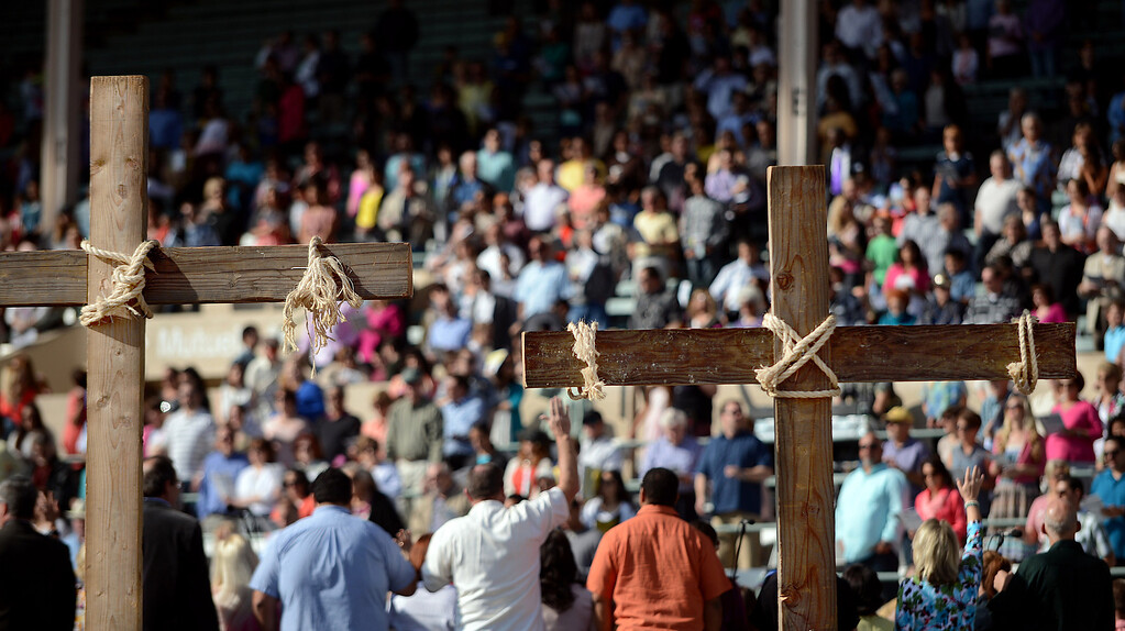. Easter morning fills the stands of people at the Fairplex during the Pomona First Baptist Church 17th annual regional Easter service in Pomona March 31, 2013. (Thomas R. Cordova/Staff Photographer)