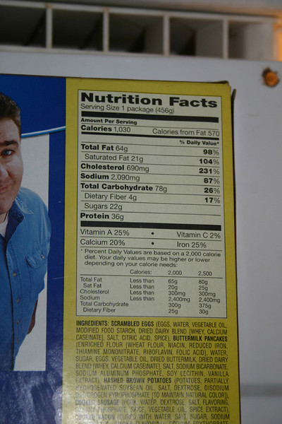 One last shot of the nutrition information for laughs