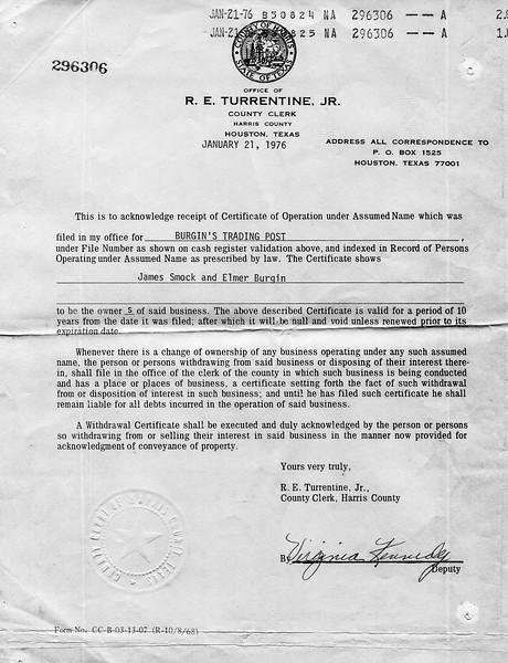 1976 Burgin's Trading Post Assumed Name certificate