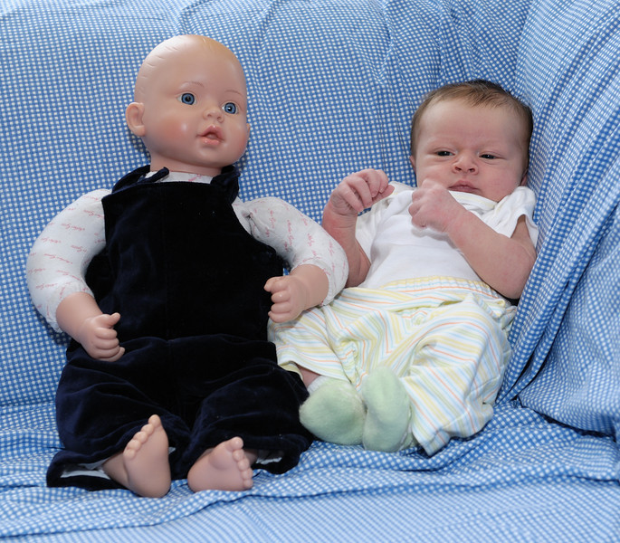 Thomas settles into a southpaw stance to keep the freaky fake baby at bay.