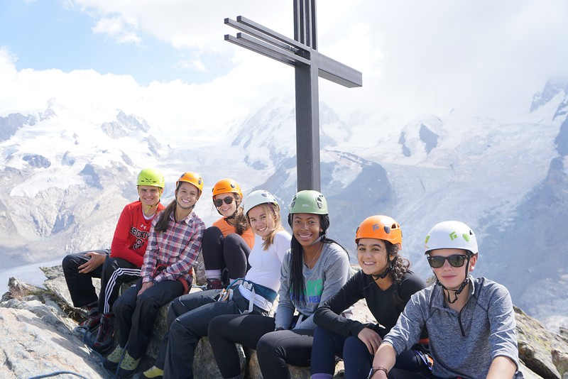 Matthew, Whitney, Ellory, Penelope, Alyssa, Sophia, and Jack at the summit of Riffelhorn