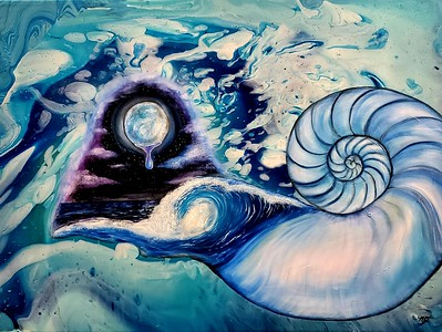"""Spirit of an Aquarian"" (oil and acrylic) by Megan Dalziel"