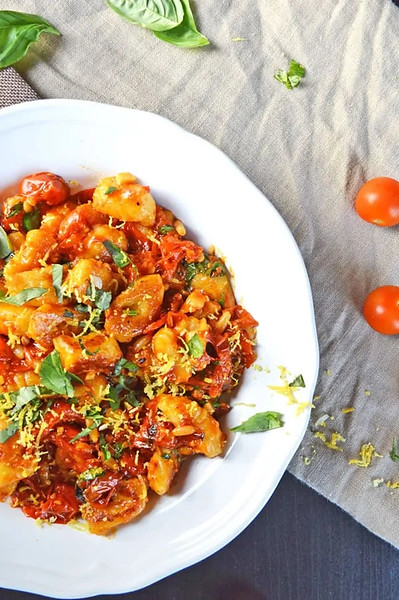 Vegan Italian Recipes: Gnocchi with Tomato Confit