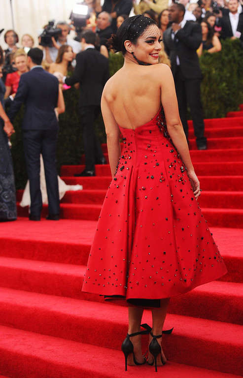 """. Vanessa Hudgens arrives at The Metropolitan Museum of Art\'s Costume Institute benefit gala celebrating \""""China: Through the Looking Glass\"""" on Monday, May 4, 2015, in New York. (Photo by Charles Sykes/Invision/AP)"""