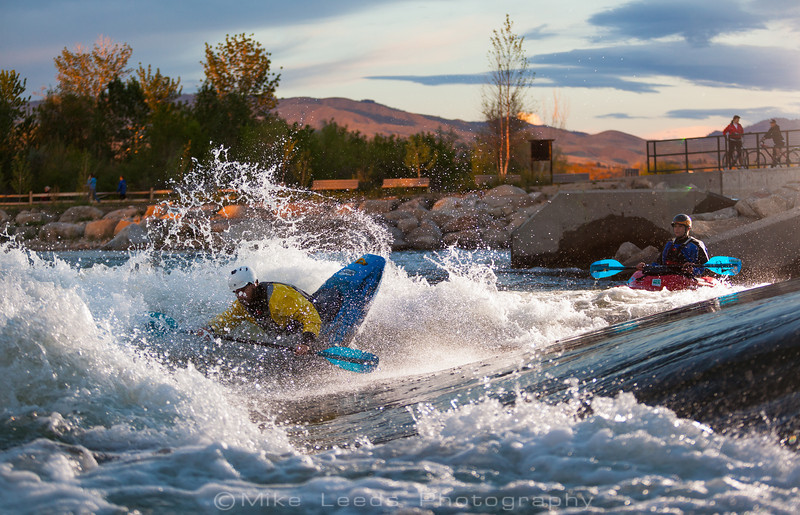 Dustin Stoenner at the Boise Whitewater Park on a May evening.