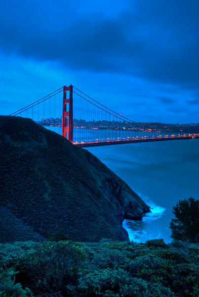 HDR Image of the Marin Headlands and the SF Golden Gate Bridge, at sunrise.