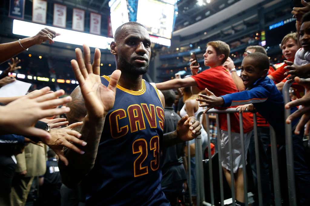 . Cleveland Cavaliers forward LeBron James (23) walks off the court after the second half of Game 3 of the second-round NBA basketball playoff series against the Atlanta Hawks, Friday, May 6, 2016, in Atlanta. Cleveland won 121-108 and leads the best-of-seven series 3-0. (AP Photo/John Bazemore)