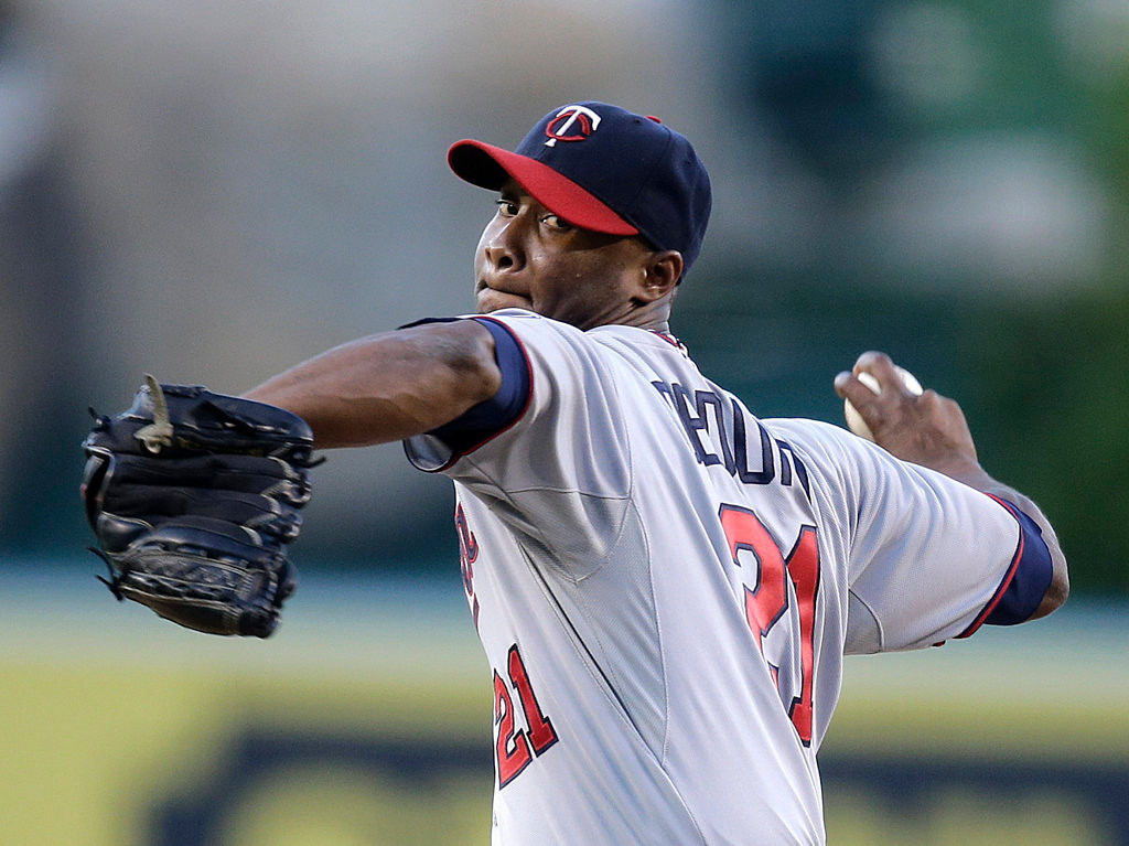 . Minnesota Twins starting pitcher Samuel Deduno throws against the Angels in the first inning Monday in Anaheim. (AP Photo/Jae C. Hong)